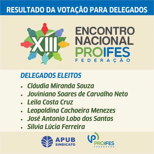 CARD RESULTADO ELEICAO  XIII ENCONTRO NACIONAL PROIFES